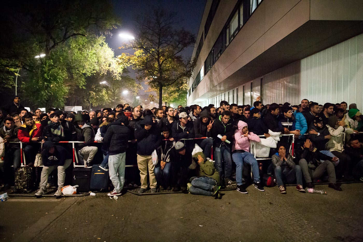 Germany. Refugees hoping to register their presence in Berlin.